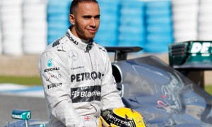 Lewis Hamilton relaxes with the Mercedes W04 at its launch in Jerez